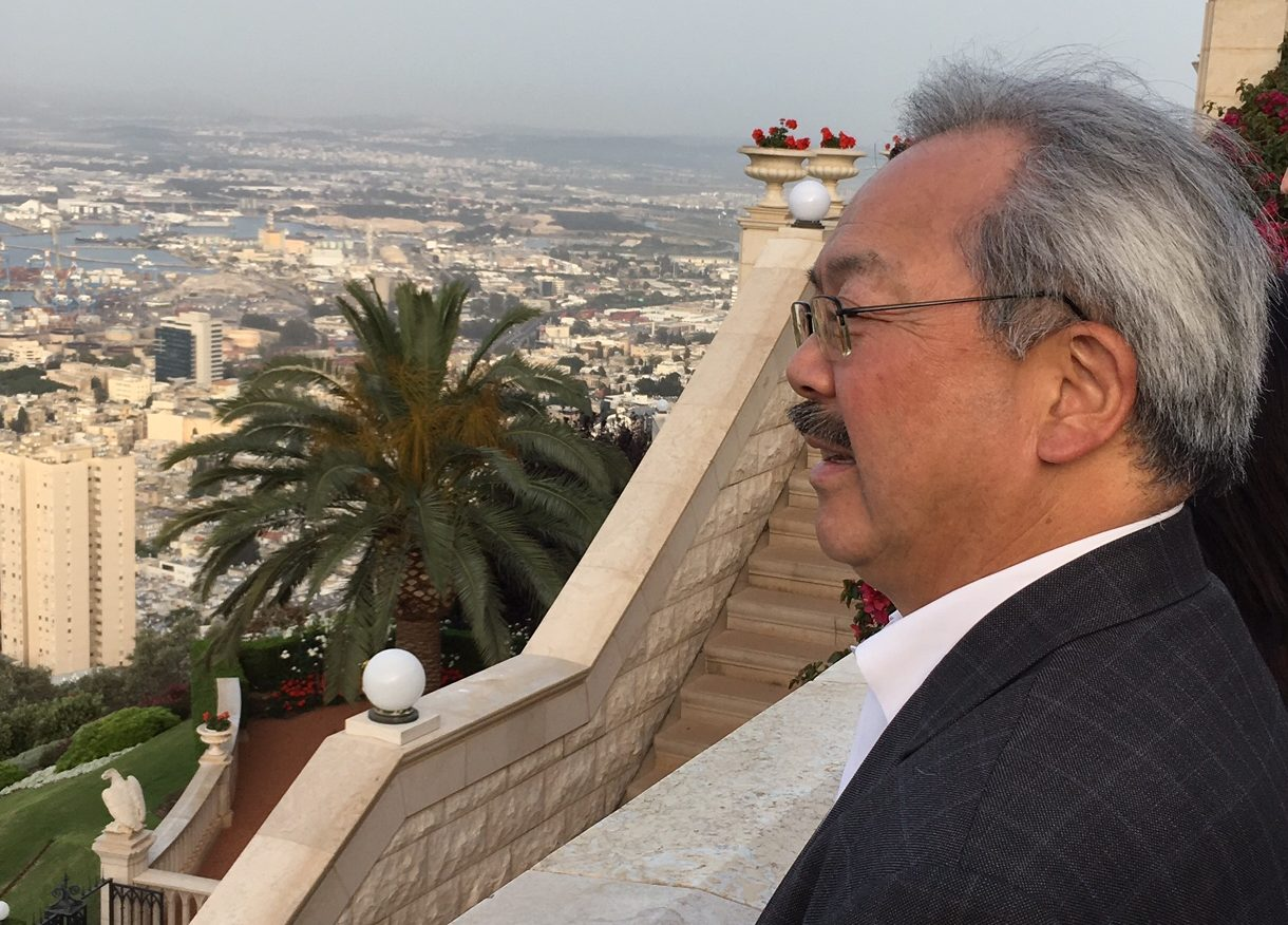Mayor Ed Lee looking out over San Francisco's sister city of Haifa, Israel, in April 2016 (Photo/Dan Pine)