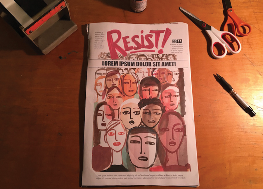 photo/courtesy nadja spiegelman An early draft of the RESIST! comic zine cover