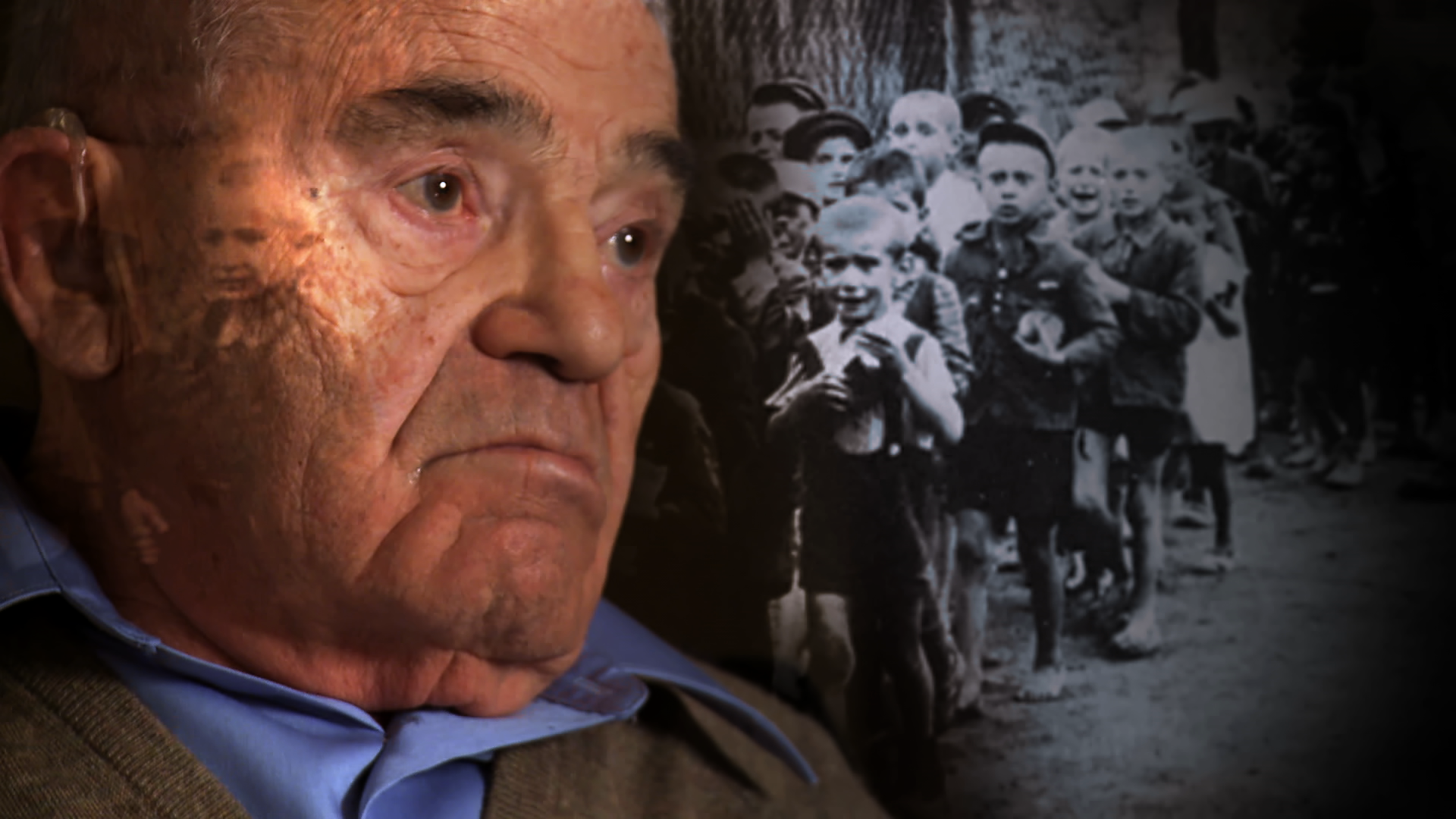 Stern's face in color on a background of a black and white Holocaust photo