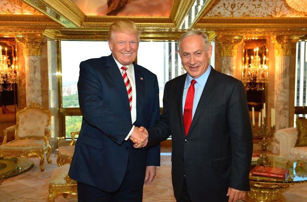 Trump and Netanyahu smiling, shaking hands in a gilded penthouse