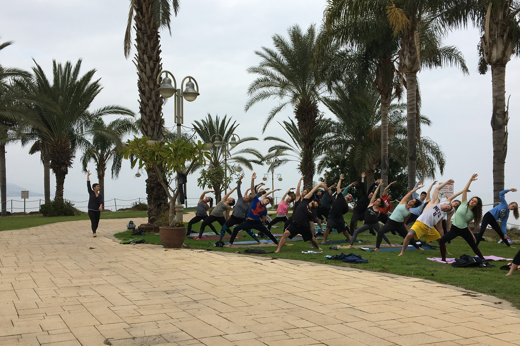 Young Jews doing yoga on a beach under palm trees