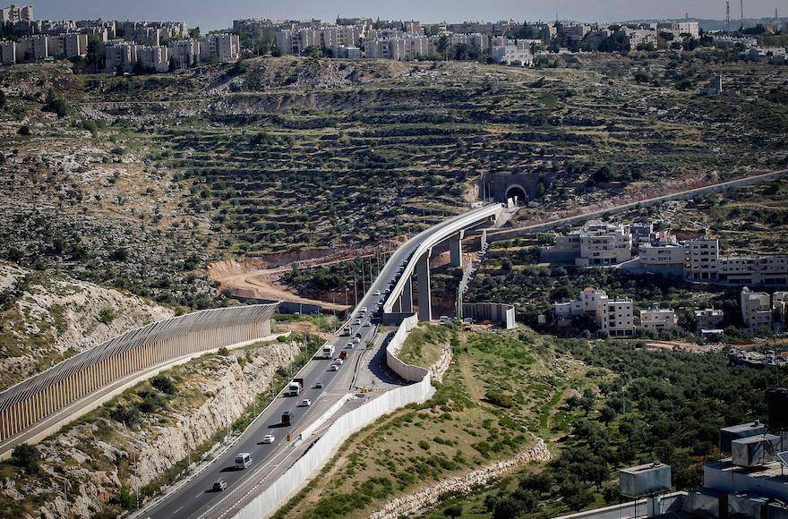 West Bank security barrier near Jerusalem/JTA-Flash90-Wisam Hashlamoun