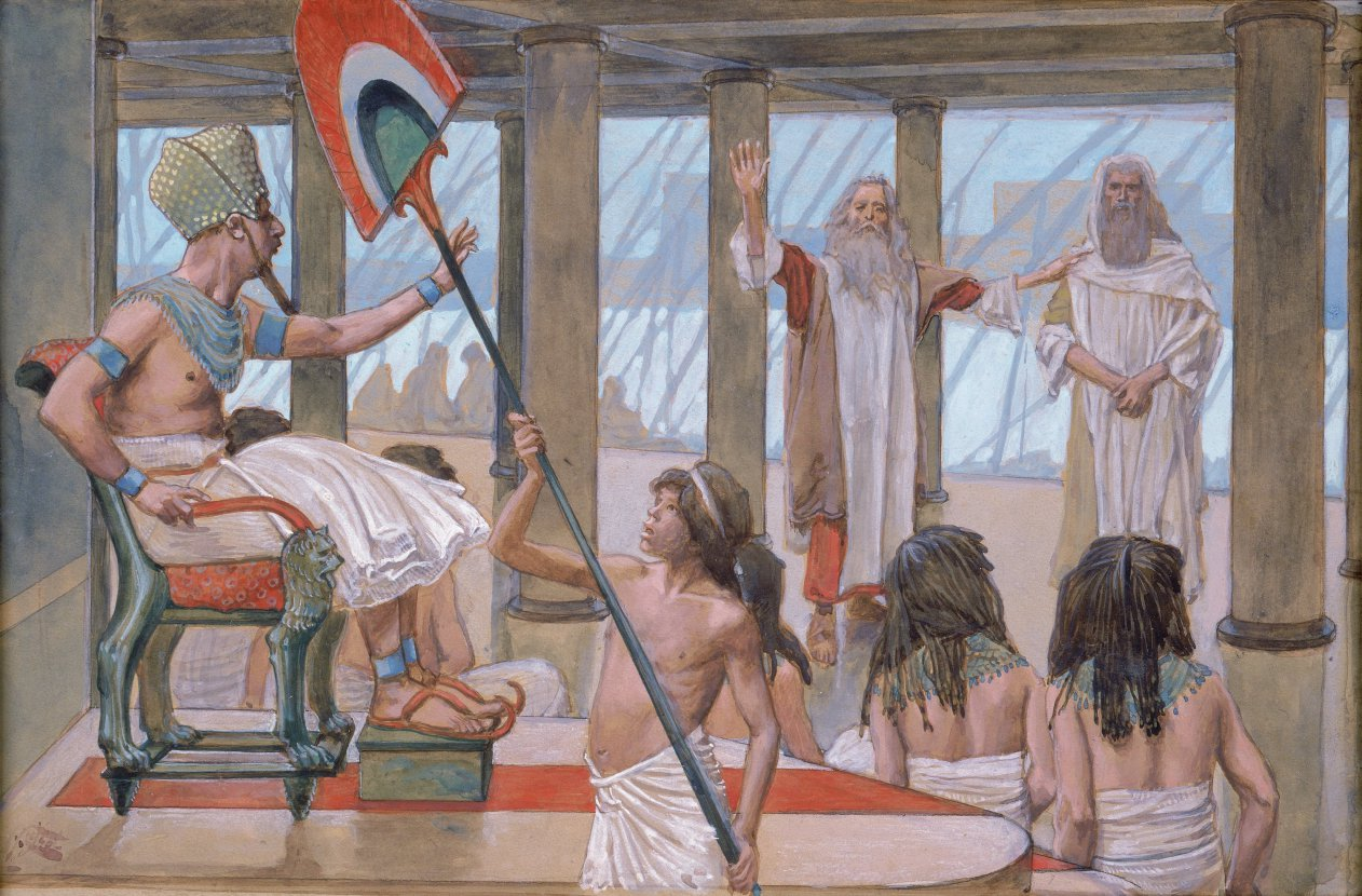 In a 1902 painting, Moses addresses Pharaoh before his court