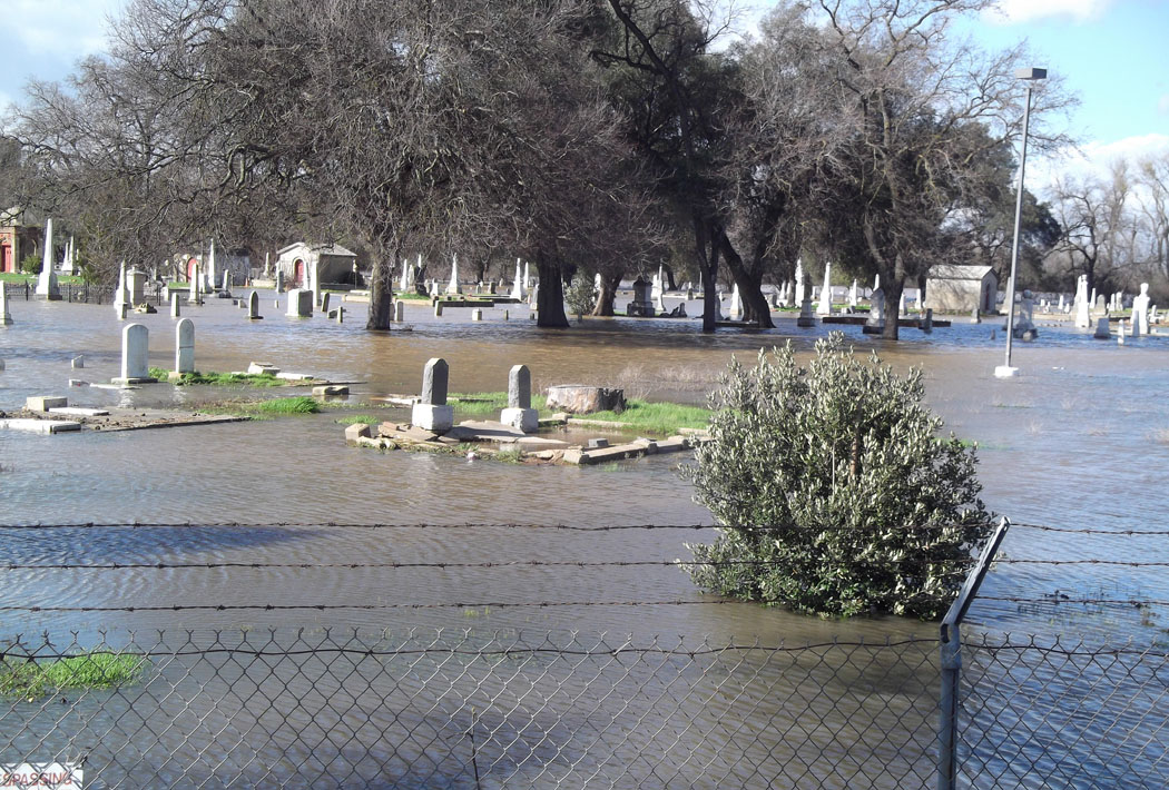 The historic Jewish cemetery in Marysville, California, on Feb. 16, 2017,  flooded after recent storms.