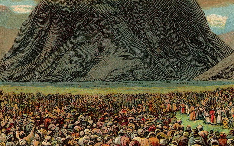 A 1907 postcard depicts the Israelites gathered at the foot of Mount Sinai.