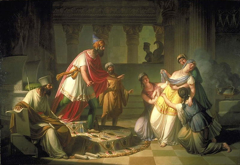 19th century painting of esther fainting as she pleads with the king in court