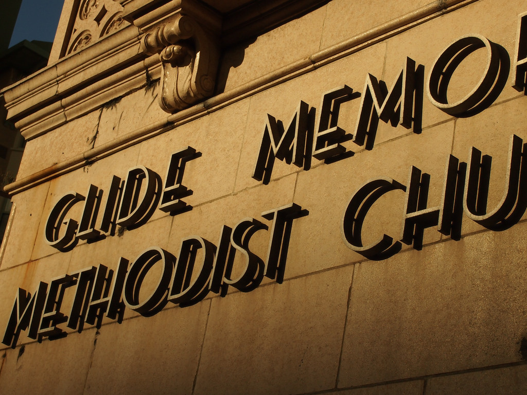 "lettering on a building reads ""Glide Memorial Church"""