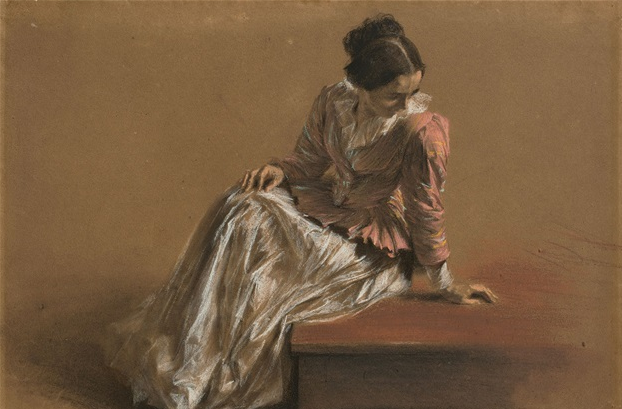 brown background, a woman in a red shirt and white skirt sits looking downward