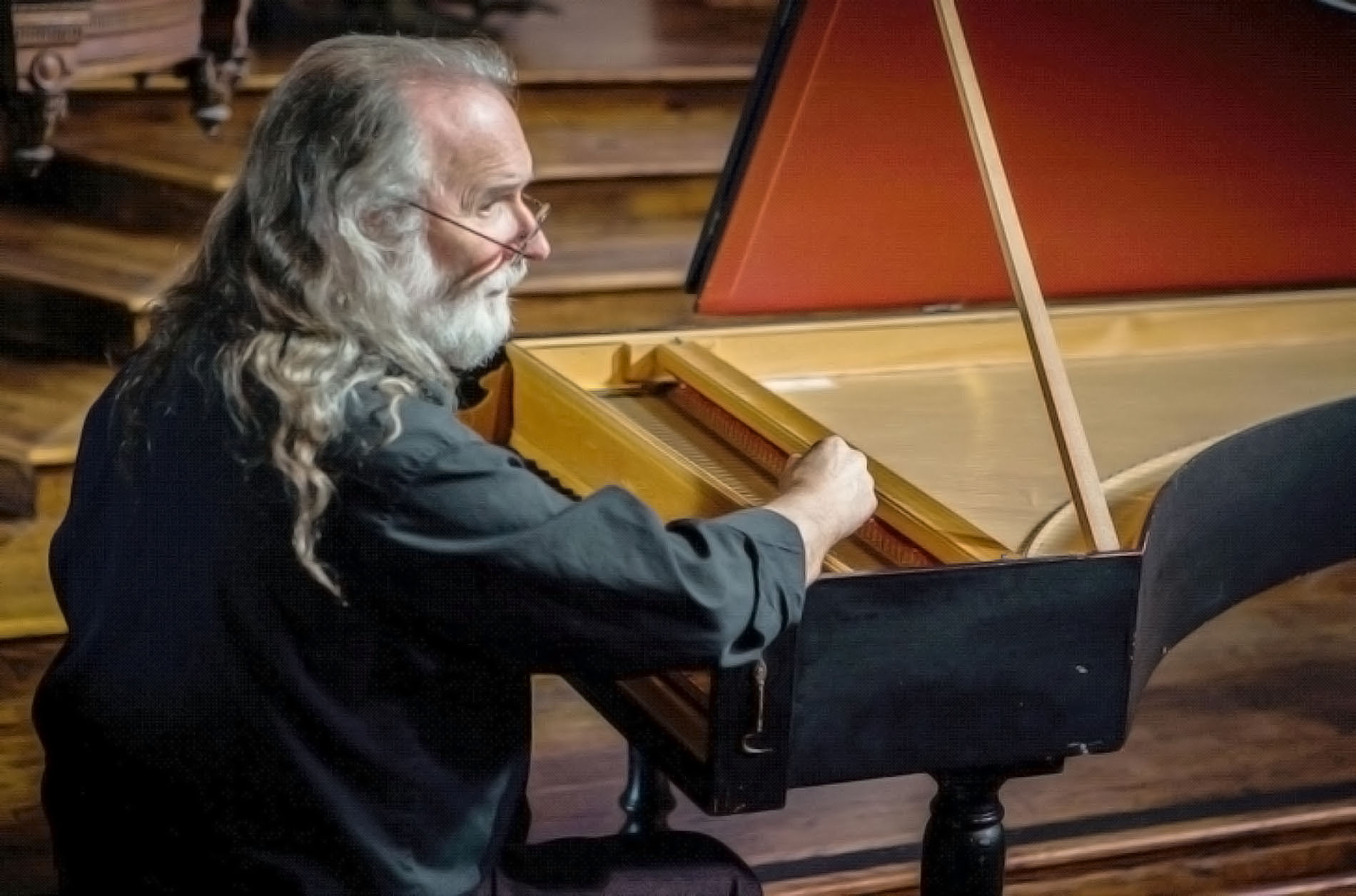 salzedo playing harpsichord