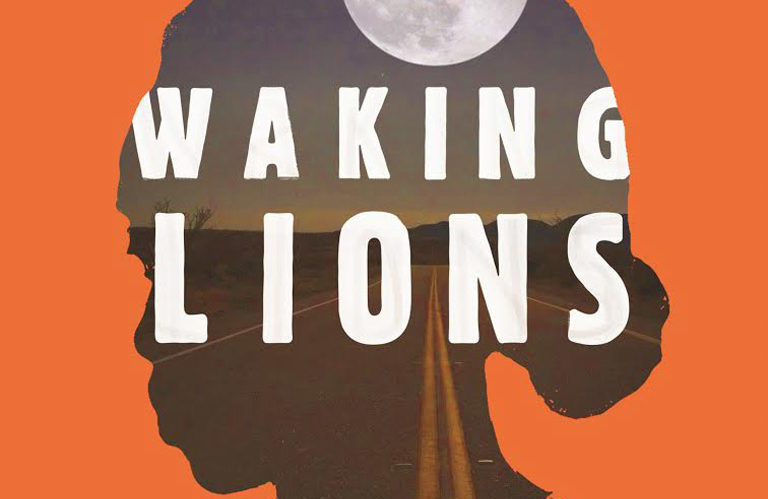 "cover art of ""Waking Lions"" by Ayelet Gundar-Goshen is orange with a woman in sillhouette"