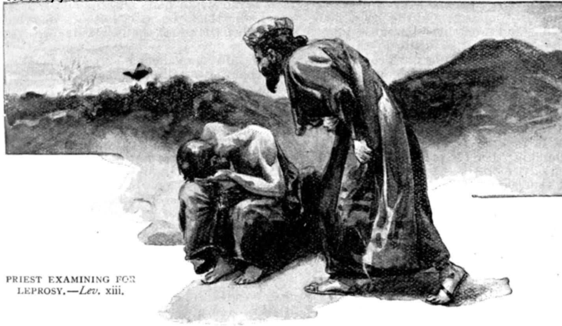 black in white illustration of a man in robes reaching out to a man hunched over and hiding his face