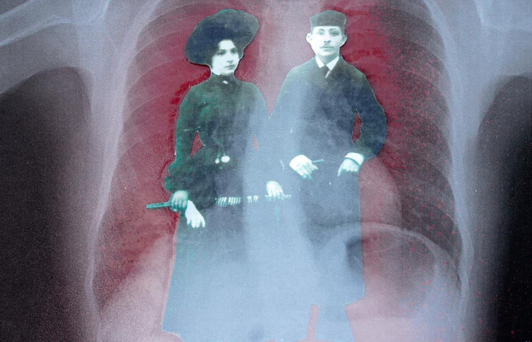 a black and white cutout of an old family photo of two relatives with a red-tinted xray of a chest behind it