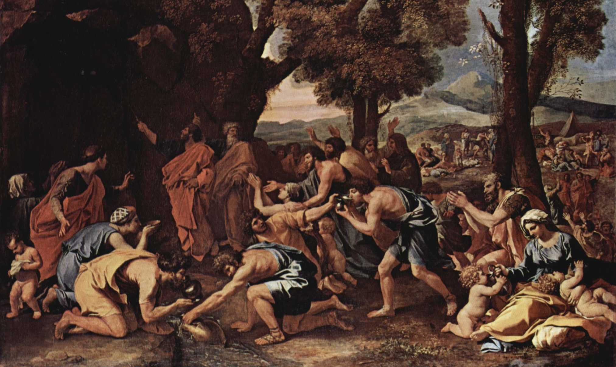 an antique painting of moses shortly after striking the rock. the israelites crouch down with jugs to collect water.
