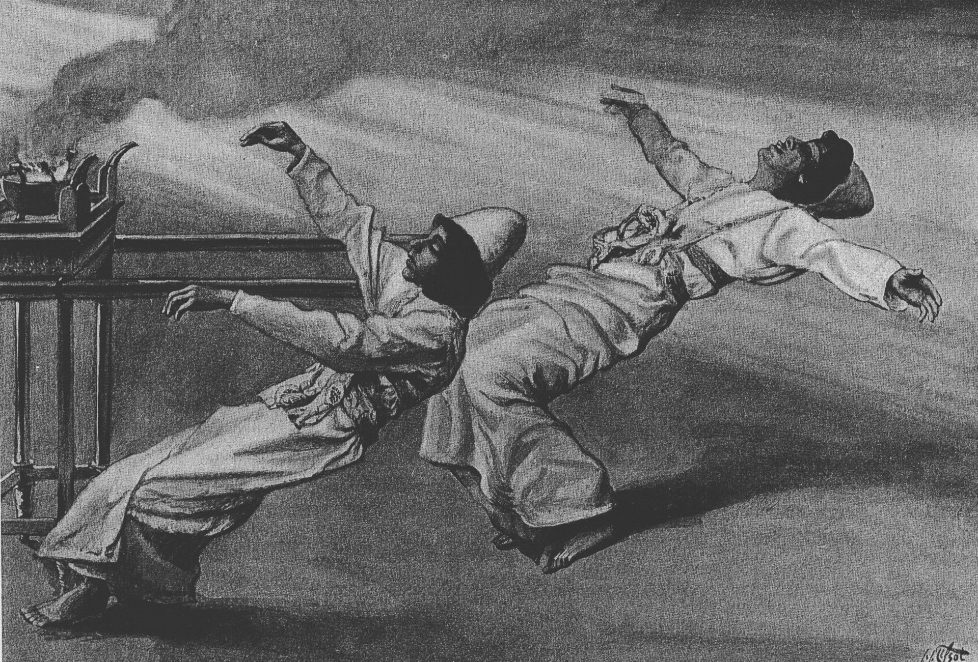 black and white drawing of nadav and avihu being thrown backwards by a flash of light