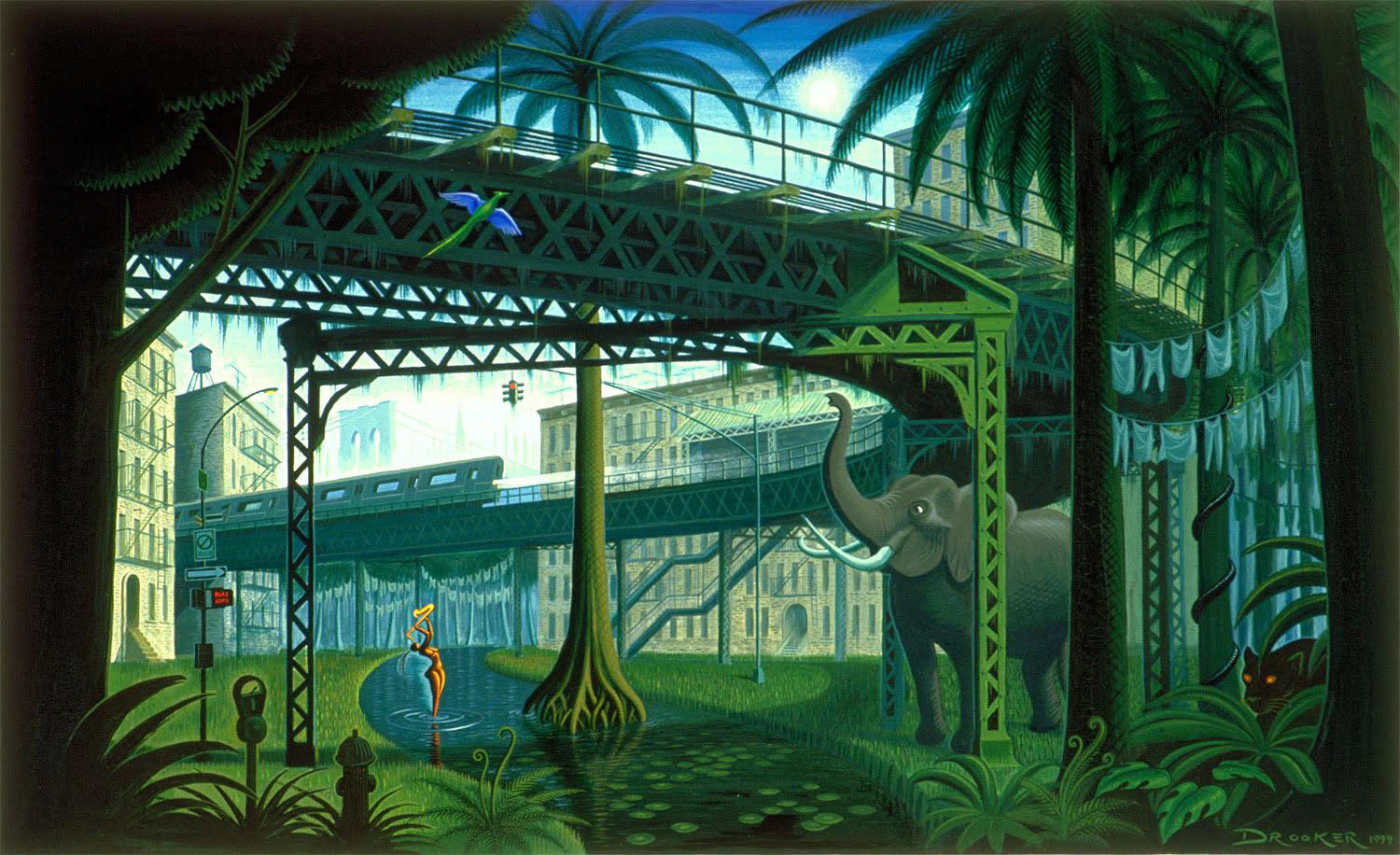 An illustration of a Brooklyn street merged with a jungle. an elephant stands beneath a raised subway line while a woman bathes in a river