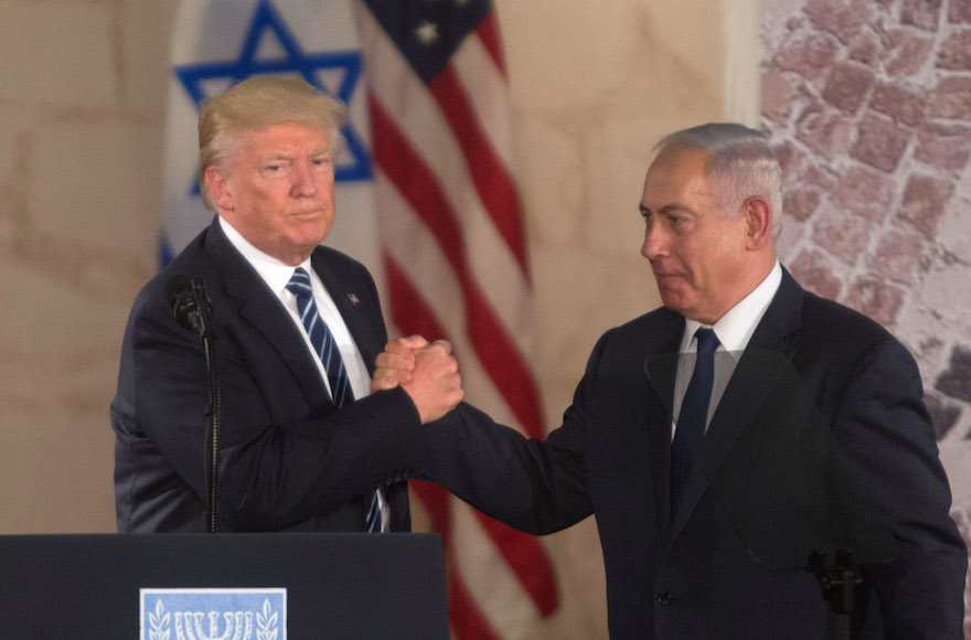 President Donald Trump and Prime Minister Benjamin Netanyahu shaking hands during a visit to the Israel Museum in Jerusalem, May 23, 2017. (Photo/JTA-Lior Mizrahi-Getty Images)
