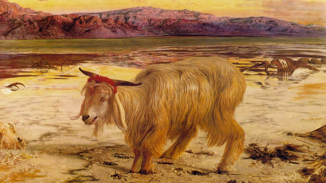 a vivid painting of a goat in the desert