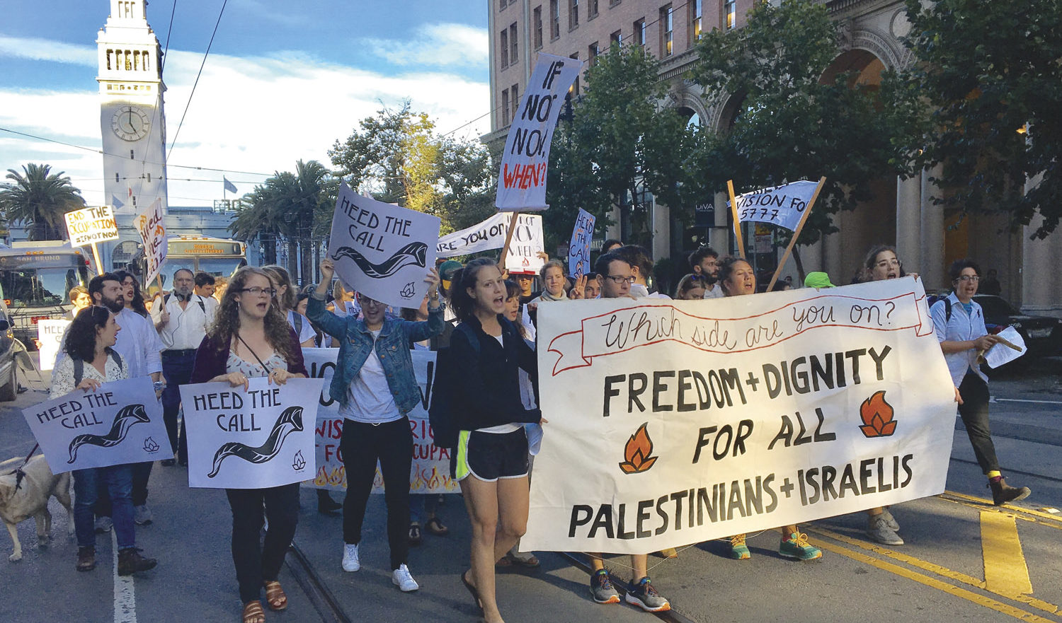 IfNotNow protesters march down Market Street in San Francisco during 2016 High Holidays. (Photo/from file)