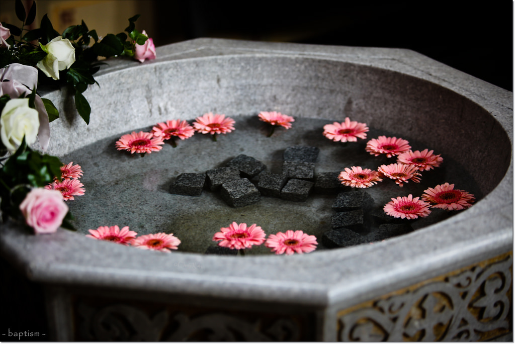 a baptismal font with flowers floating in it