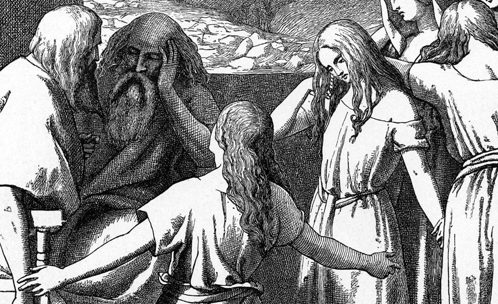 black and white engraving -- a woman kneels before Moses begging
