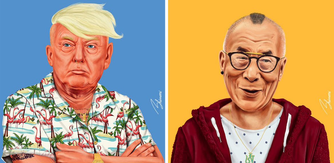 Trump has a foppish blond haircut and a brightly colored shirt with palm trees and flamingos, the dalai lama has a red hoodie and a short mohawk