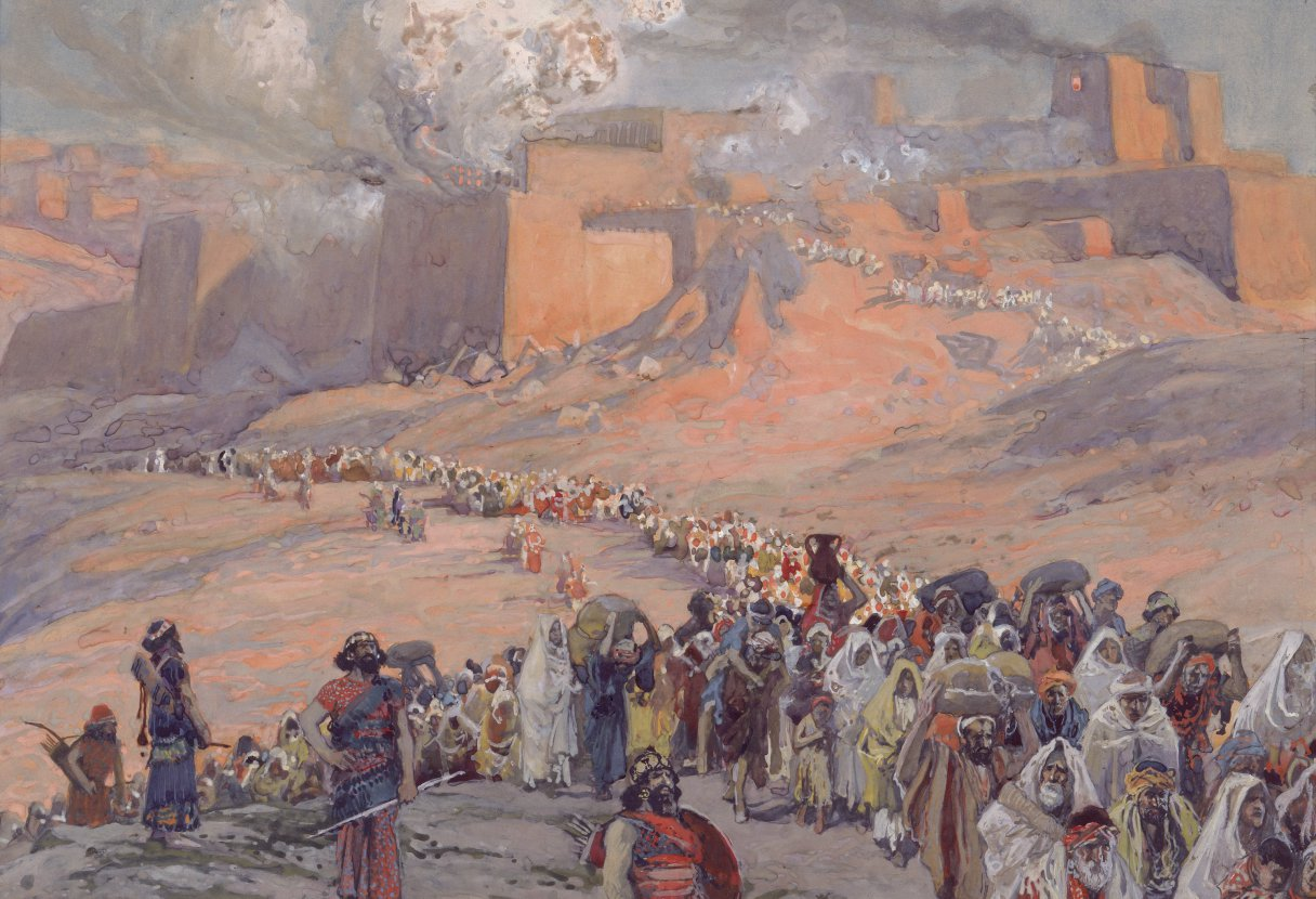 a painting shows a long stream of people marching out from Jerusalem