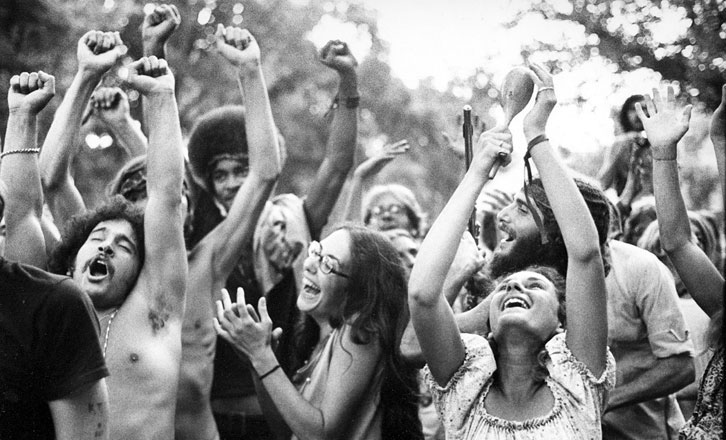 dancing hippies, black and white