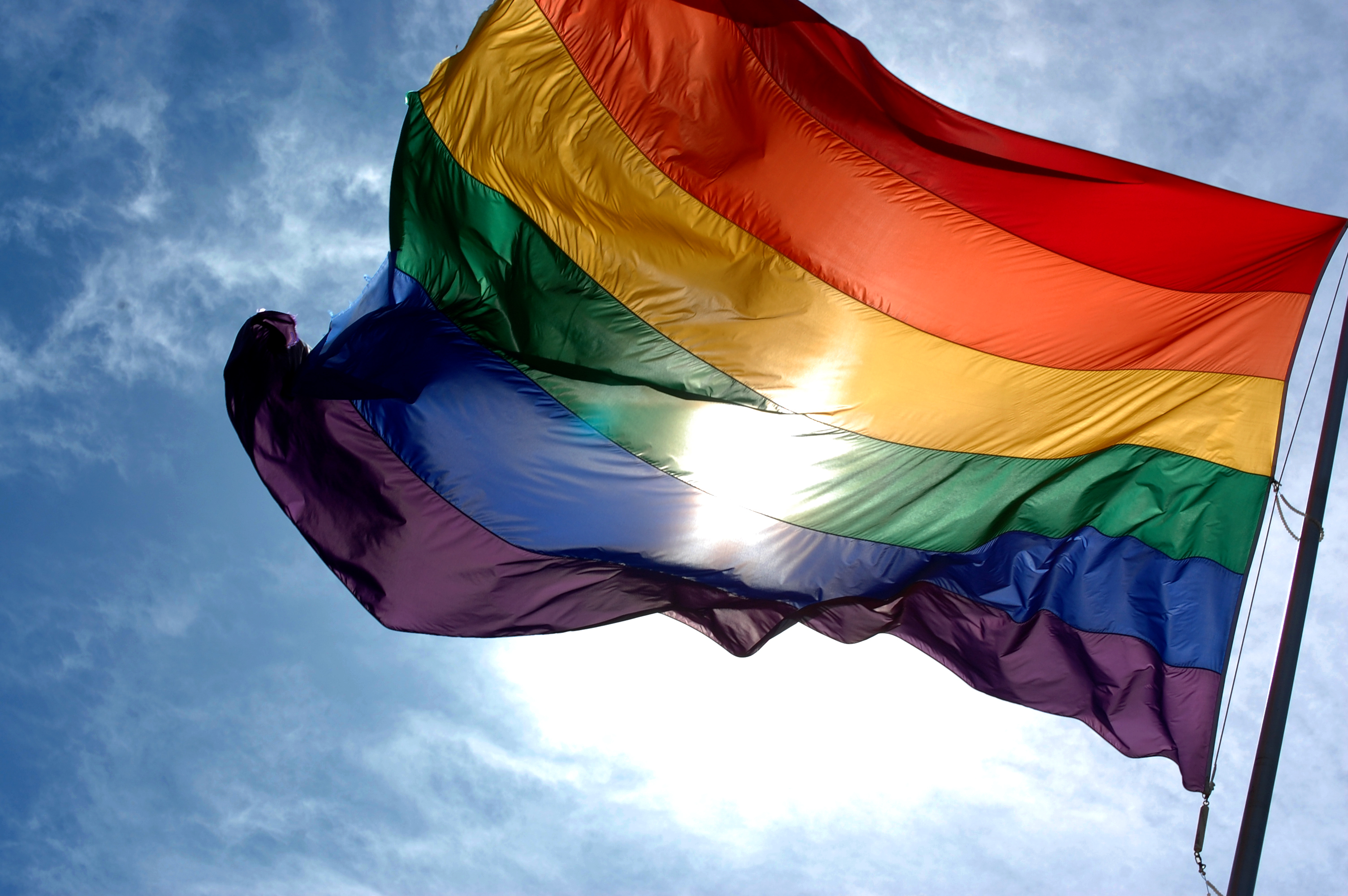 pride flag waving in the wing