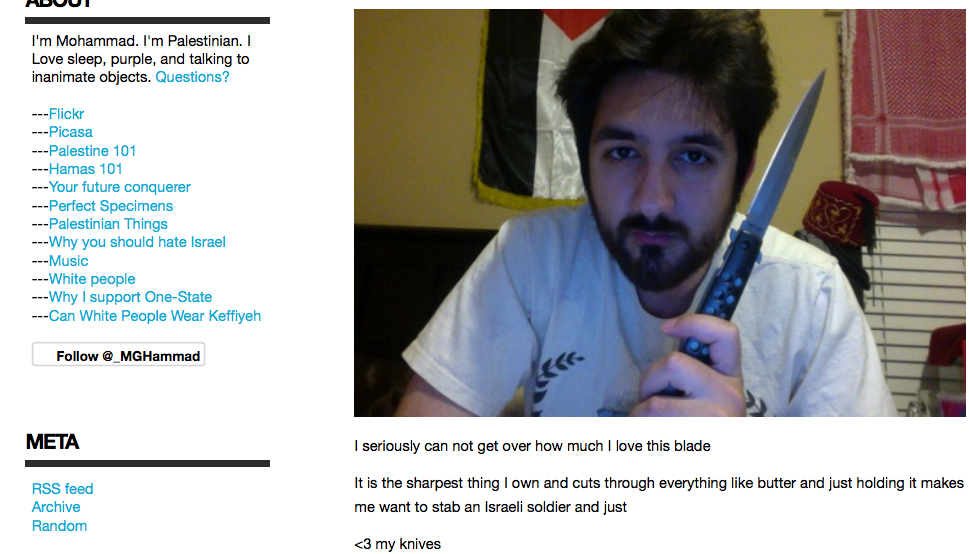 A screenshot of former San Francisco State University student Mohammad Hammad brandishing a knife and threatening an Israeli soldier online in 2014
