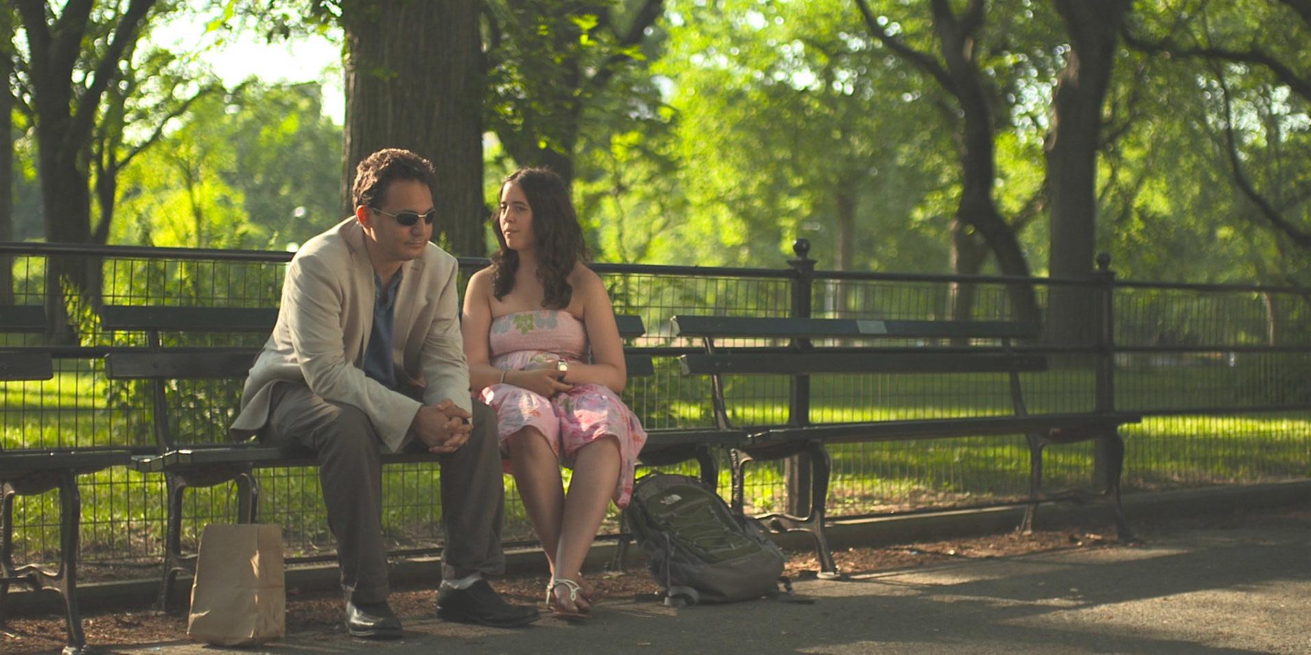 "David (Brandon Polansky) and Sarah (Samantha Elisofon) are a couple in the romantic comedy ""Keep the Change."""