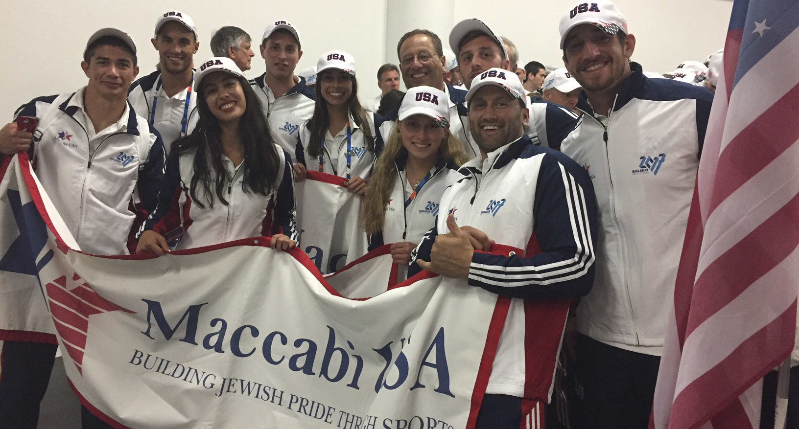 Team USA at the opening ceremonies of the Maccabiah Games, July 6 2017 (Courtesy/Maccabi USA)
