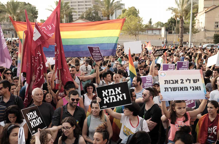 Hundreds protesting in support of the right of LGBT couples to adopt children, outside the Ministry of Absoption in Tel Aviv, July 20, 2017. (Photo/JTA-Tomer Neuberg-Flash90)