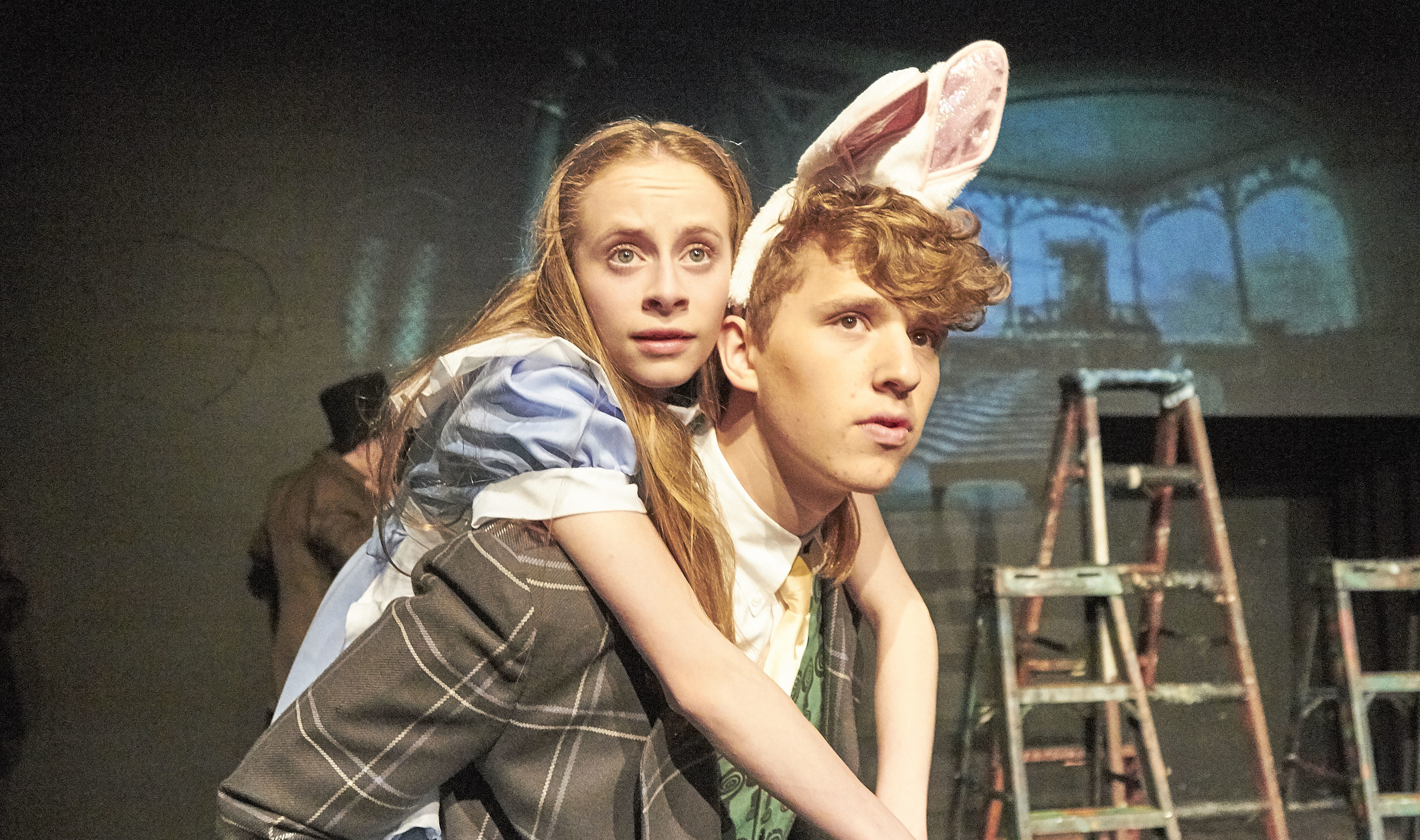 """Jewish Community High School students on stage in """"Alice and the Black Hole Blues,"""" which is playing at the Edinburgh Fringe Festival"""