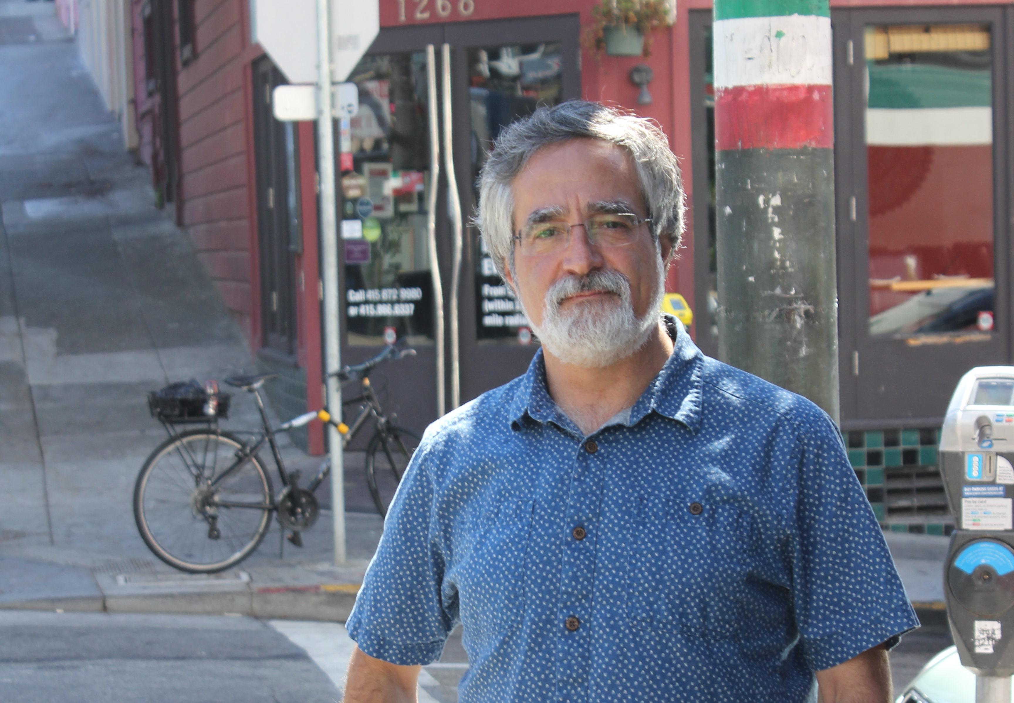 San Francisco Supervisor Aaron Peskin outside Caffe Trieste in North Beach (Photo/David A.M. Wilensky)