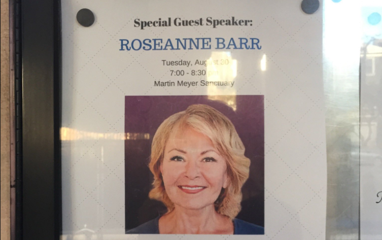 In the past, Congregation Emanu-El's Israel programming has included such divisive speakers as comedian Roseanne Barr, who is known for her aggressive pro-Israel rhetoric on Twitter. (Photo/Hannah Rubin)