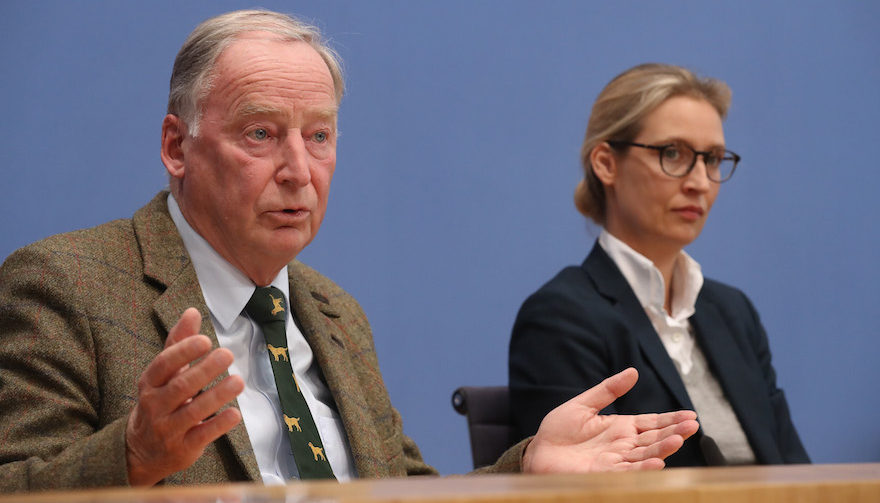 Alexander Gauland, left, and Alice Weidel, co-leaders of the right-wing Alternative for Germany party, speaking at a news conference in Berlin, Sept. 25, 2017 (Photo/JTA-Sean Gallup-Getty Images)