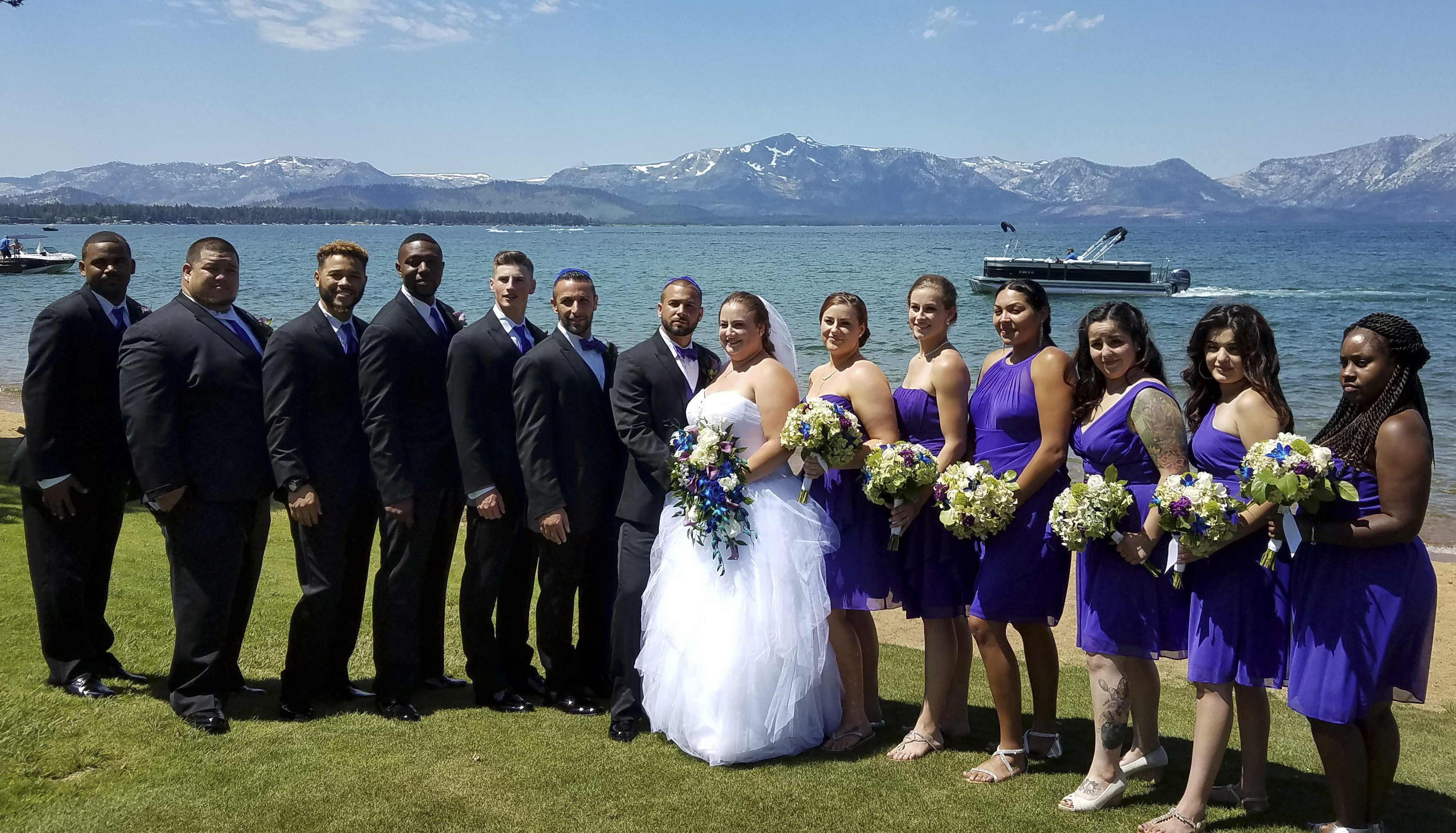 Jon and Amanda (Lafferty) Zrihen with their wedding party at their Lake Tahoe wedding