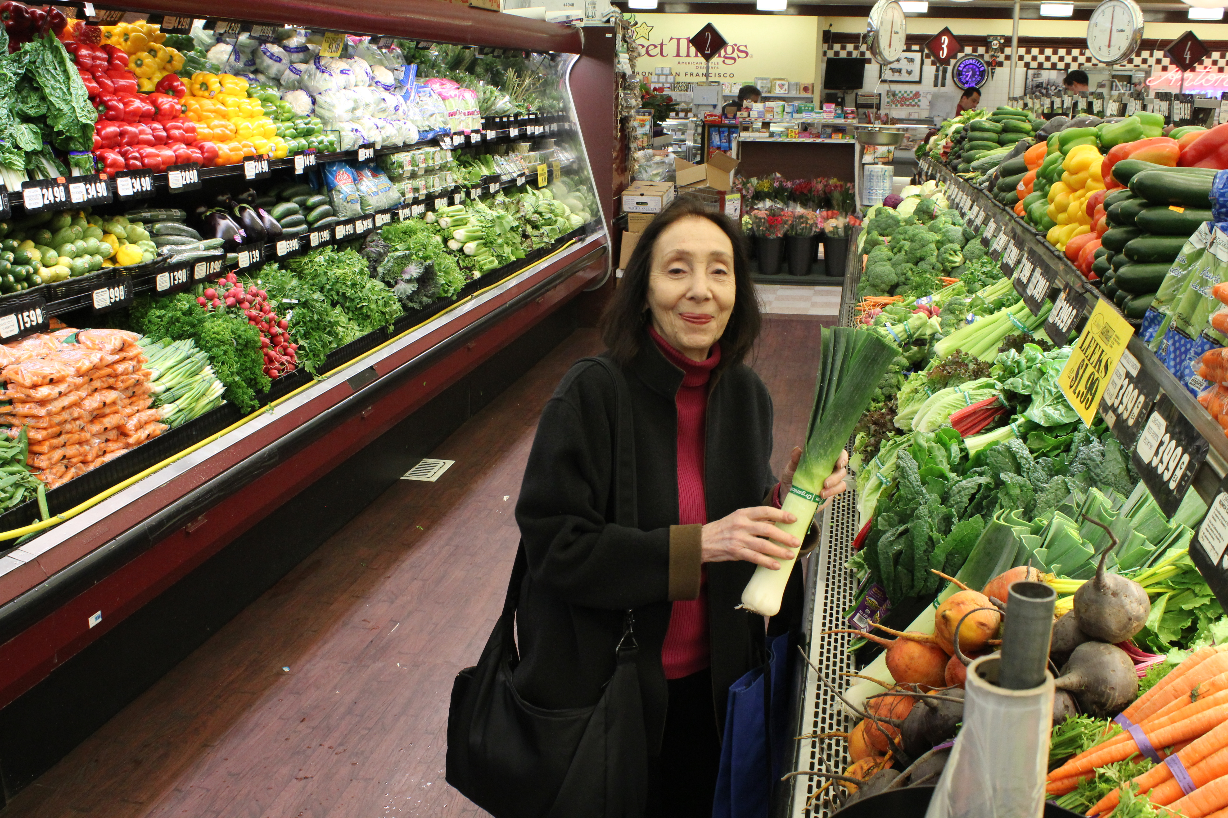 Local chef and author Joyce Goldstein selects fresh vegetables for her holiday menu. (Photo/David A.M. Wilensky)