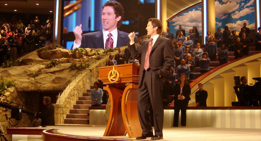 Joel Osteen preaching at Lakewood Church in Houston, the largest church in America, where services are broadcast around the world (Photo/JTA-Frank E. Lockwood-Lexington Herald Leader-MCT)
