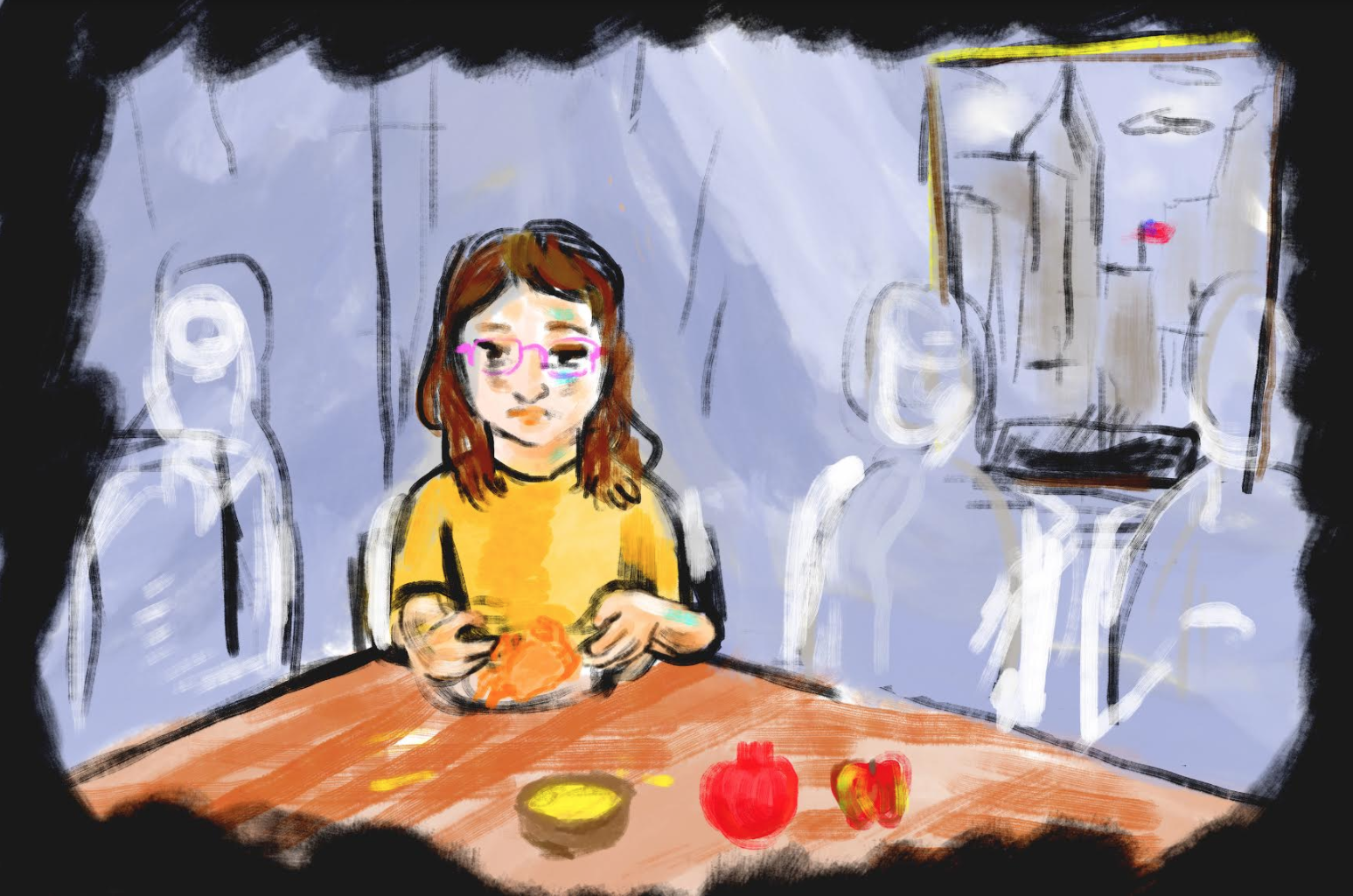 For one Israeli living in New York, there's nothing like celebrating Rosh Hashanah with family back at home. (Illustration/JTA-Lior Zaltzman)