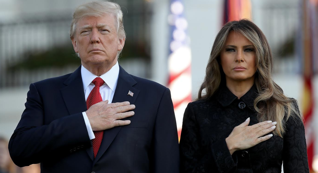 President Donald Trump and First Lady Melania Trump observing a moment of silence for the victims of Sept. 11, 2001 on the South Lawn of the White House, Sept. 11, 2017 (Photo/JTA-Win McNamee-Getty Images)