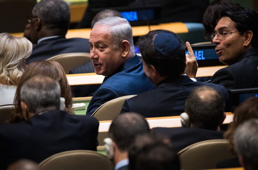 Israeli Prime Minister Benjamin Netanyahu taking his seat before President Donald Trump's speech to the General Assembly at U.N. headquarters in New York, Sept. 19, 2017. (Photo/JTA-Getty Images-Drew Angerer)