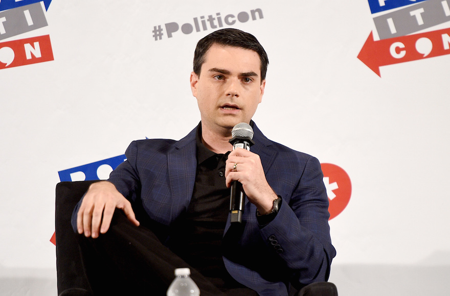 Ben Shapiro speaking at the Pasadena Convention Center in California, July 30, 2017 (Photo/JTA-Joshua Blanchard-Getty Images for Politicon)