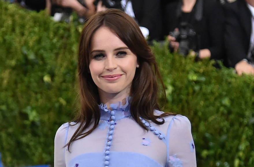 Felicity Jones at the Metropolitan Museum of Art in New York City, May 1, 2017. (Photo/JTA-Mike Coppola-Getty Images for People.com)