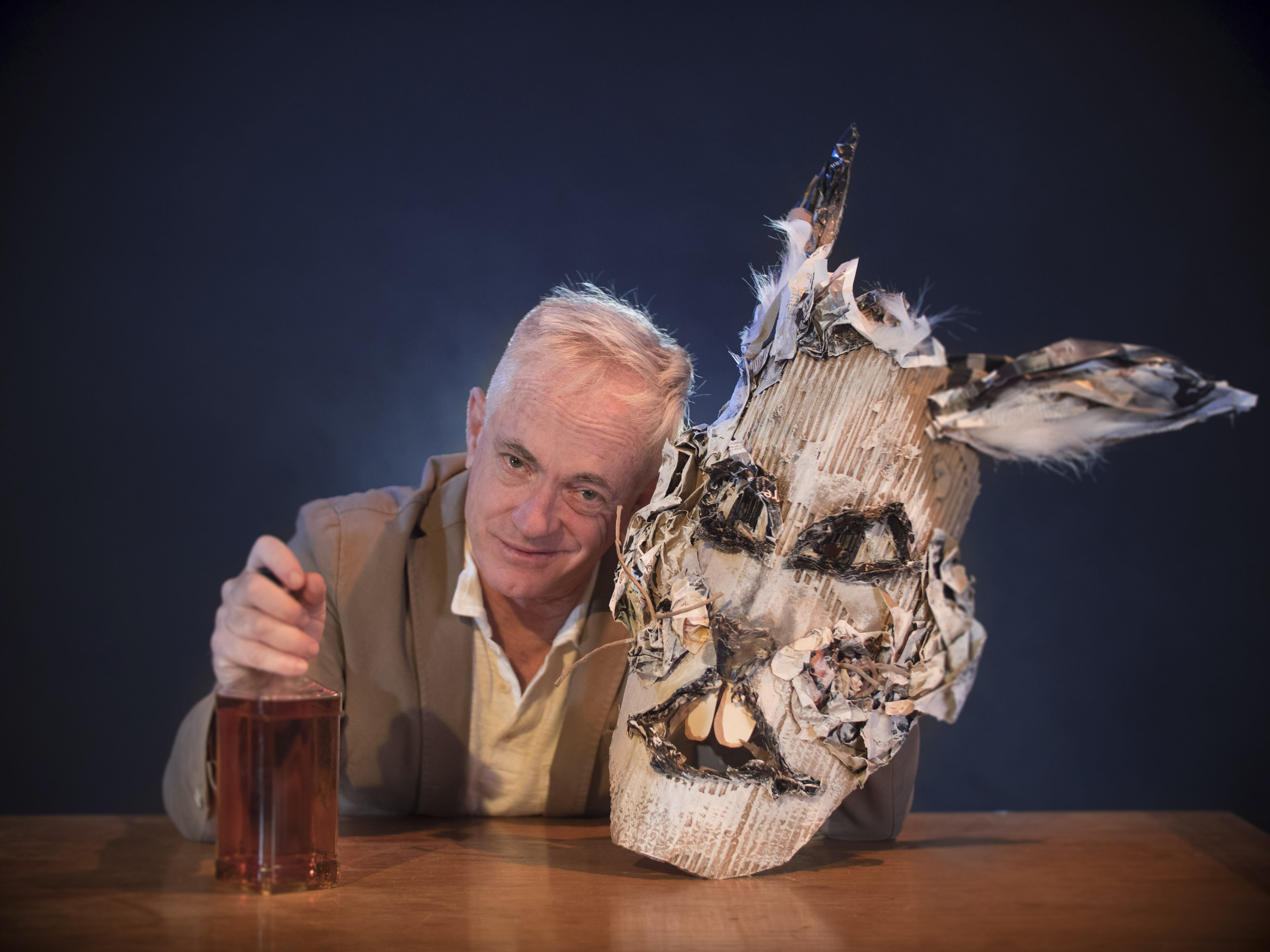 """Danny Scheie as Ghost in """"Imaginary Comforts, or The Story of the Ghost of the Dead Rabbit"""" (Photo/Berkeley Repertory Theatre-Joel Dockendorf)"""