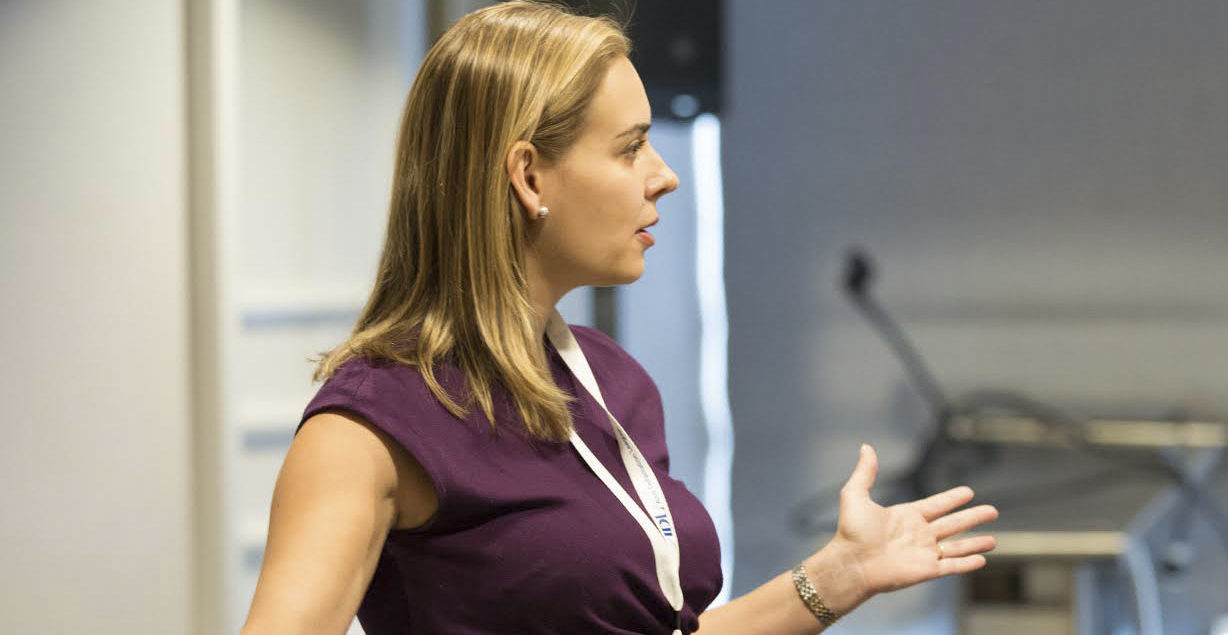 ADL Director of Technology and Society Brittan Heller speaks at the ADL National Leadership Summit in Washington, D.C., May 2017 (Photo/Courtesy ADL)