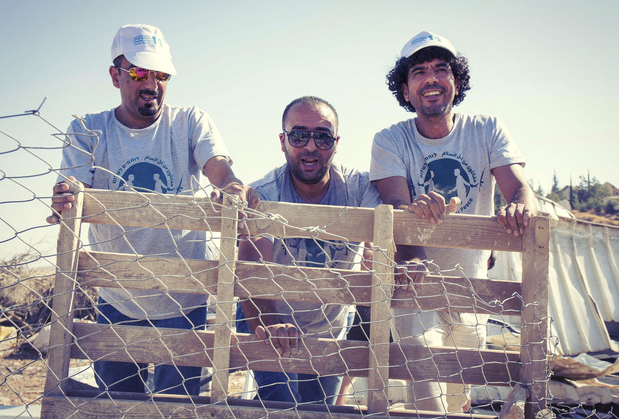Combatants for Peace activist Sulaiman al-Khatib (far right) helps rebuild after demolitions in Umm el-Khair, near Hebron. (Photo/Tatyana Gitlits)