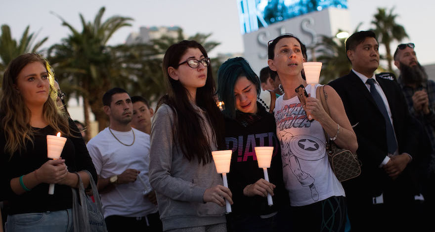 Mourners attending a candlelight vigil in Las Vegas for the victims of the mass shooting there, Oct. 2, 2017. (Photo/JTA-Drew Angerer-Getty Images)
