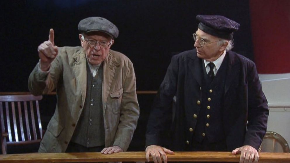 Bernie Sanders (left) and Larry David appearing together in a Saturday Night Live sketch in 2016