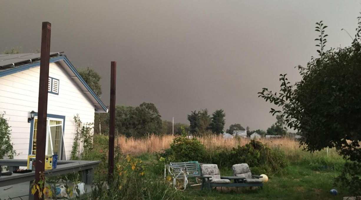 Smoke fills the air in this photo taken earlier today at a house in Santa Rosa. (Photo/Anna Wachtel)